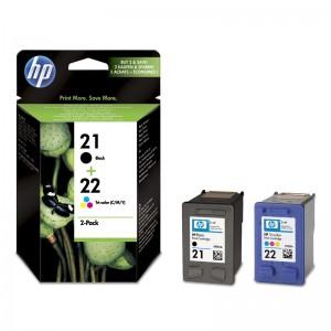 HP 21 NEGRO+ HP 22 TRICOLOR PACK TINTA ORIGINAL  PERTENENCIENTE A LA REFERENCIA HP 22 / 22XL Tinteiros