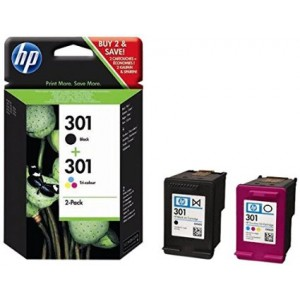 HP 301 NEGRO + 301 TRICOLOR PACK TINTA ORIGINAL PARA LA IMPRESORA HP Envy 5535 e-All-in-One Tinteiros