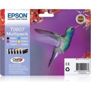 EPSON ORIGINAL T0807 Pack Negro + Colores PERTENENCIENTE A LA REFERENCIA Epson T0801/2/3/4/5/6 Tinteiros
