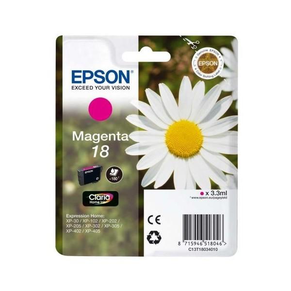ORIGINAL EPSON 18 MAGENTA, para impressoras Expression Home XP-102, XP-202, XP-205, XP-302, XP-302