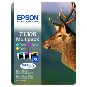 Cartuchos EPSON ORIGINAL T1306 PACK NEGRO + COLORES PARA LA IMPRESORA Epson WorkForce WF-3010DW Tinteiros