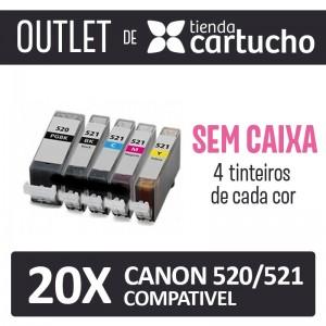 Outlet - Pack 20 Tinteiros Compativels Canon 520/521 Sin Caja PARA LA IMPRESORA Canon Pixma IP4700 Tinteiros