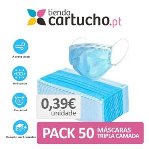 Pack 50 Mascarillas Desechables De 3 Capas PARA LA IMPRESORA Higiene Covid