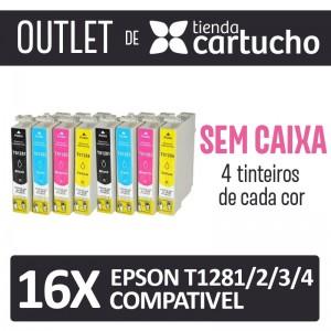 Outlet - Pack 8 Tinteiros Compativels Epson T1281/2/3/4 Sin Caja PERTENENCIENTE A LA REFERENCIA Epson T1281/2/3/4 Tinteiros