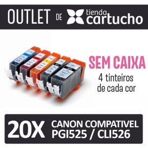 Outlet - Pack 20 Tinteiros Compativels Canon Pgi525 / Cli526 Sin Caja PERTENENCIENTE A LA REFERENCIA Canon PGI525 / CLI526 Tinteiros