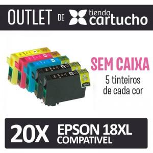 Outlet - Pack 20 Tinteiros Compativels Epson 18xl Sin Caja PERTENENCIENTE A LA REFERENCIA Epson 18 / 18XL Tinteiros