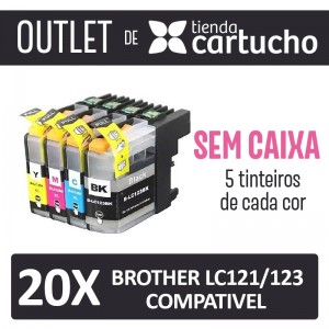 Outlet - Pack 20 Tinteiros Compativels Brother Lc121 Lc123 Sin Caja PERTENENCIENTE A LA REFERENCIA Brother LC-121 Tinteiros