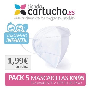 Pack 5 Mascarillas Infantiles Kn95 - Equivalente Ffp2 PARA LA IMPRESORA Higiene Covid