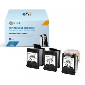 Pack 3 Tinteiros Eco Saver Hp 304xl Compativel Premium Preto + Cabezal PARA LA IMPRESORA Hp Deskjet 3762 Tinteiros
