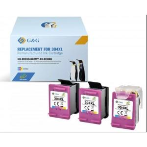 Pack 3 Tinteiros Eco Saver Hp 304xl Compativel Premium Color + Cabezal PARA LA IMPRESORA Hp Deskjet 3762 Tinteiros