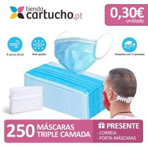 PACK 250 MÁSCARAS (5 CAIXAS 50 PCS.) HIGIÉNICAS DESCARTÁVEIS DE 3 CAMADAS PARA LA IMPRESORA Higiene Covid