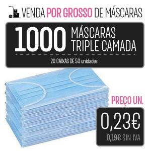 PACK 1000 MÁSCARAS (20 CAIXAS 50 PCS.) HIGIÉNICAS DESCARTÁVEIS DE 3 CAMADAS PARA LA IMPRESORA Higiene Covid