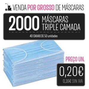 PACK 2000 MÁSCARAS (40 CAIXAS 50 PCS.) HIGIÉNICAS DESCARTÁVEIS DE 3 CAMADAS PARA LA IMPRESORA Higiene Covid