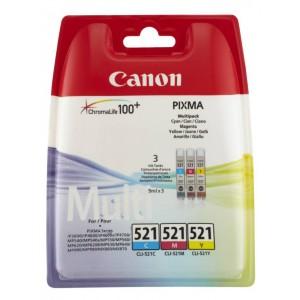 Canon CLI-521 C/M/Y colores PACK 3 cartuchos de tinta original. PARA LA IMPRESORA Canon Pixma IP4700 Tinteiros