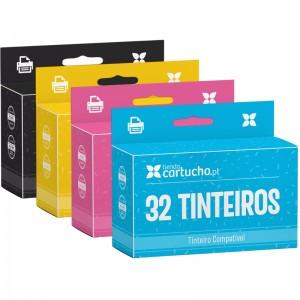 PACK 32 (ESCOLHER CORES) TINTEIROS COMPATÍVEIS BROTHER LC-970 LC-1000 PARA LA IMPRESORA Brother Fax-1460 Tinteiros